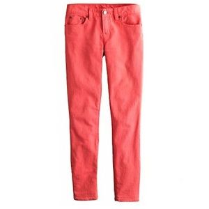 J. Crew Toothpick Ankle Twill Pink Faded Red Jeans